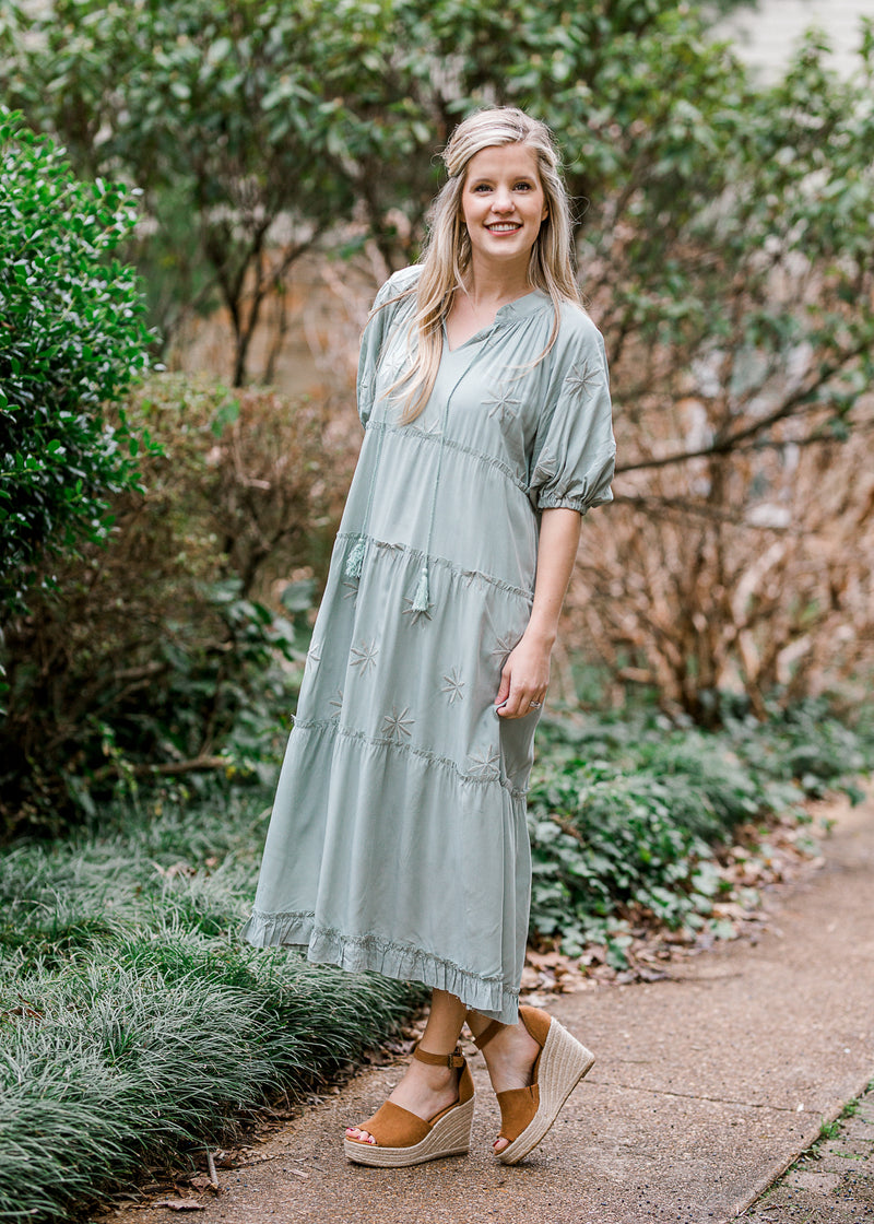 tiered sage midi dress - epiphany boutiques