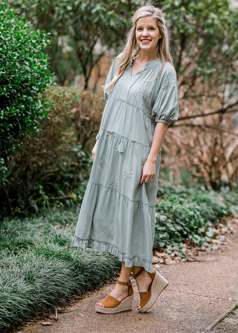 sage midi dress with tassels - epiphany boutiques