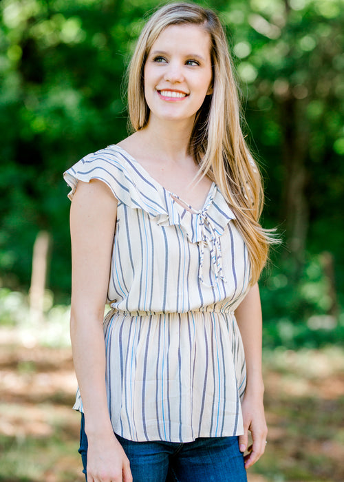 front tie on striped top -  epiphany boutiques