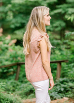 dusty mauve top with floral print - epiphany boutiques
