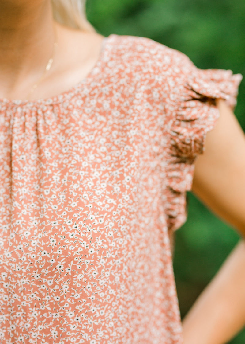 dusty mauve top with floral print and ruffles - epiphany boutiques