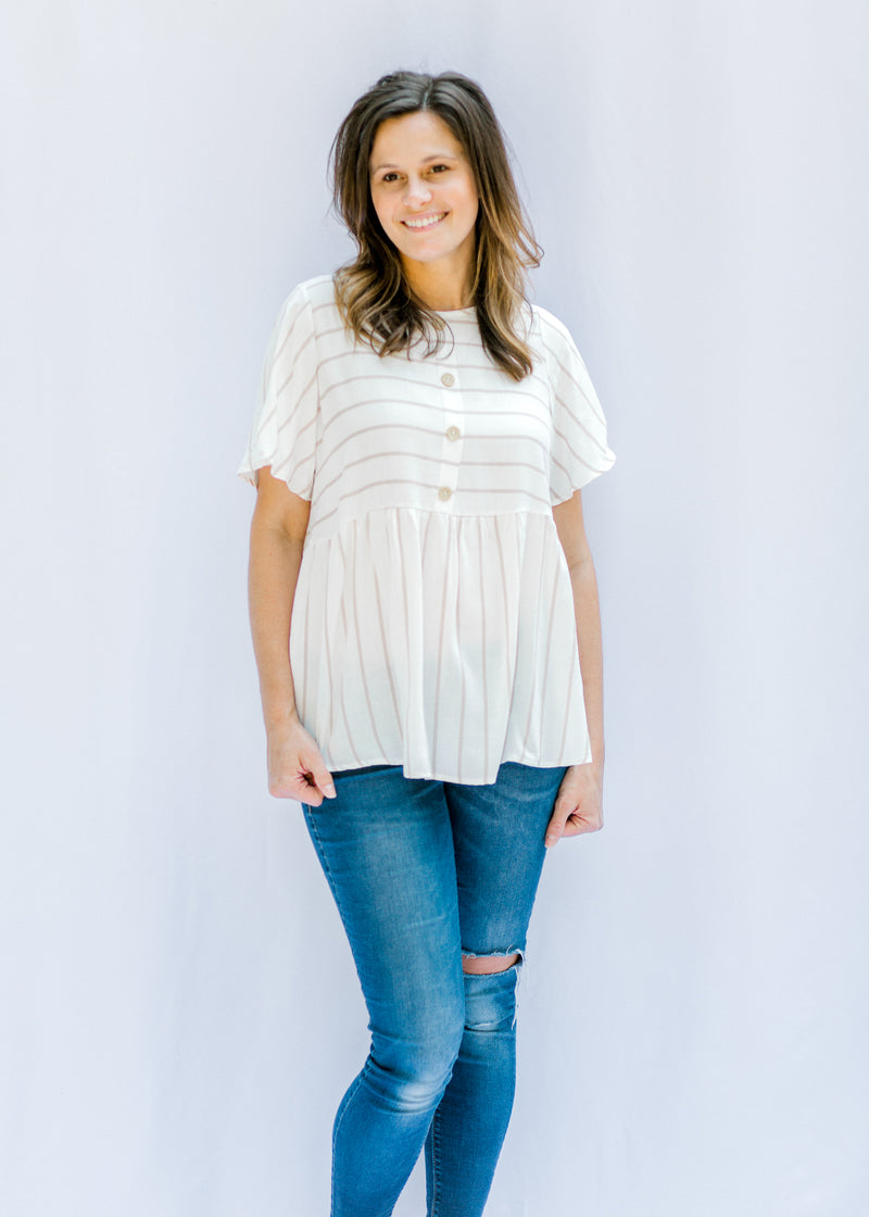 cream with taupe stripes top - epiphany boutiques