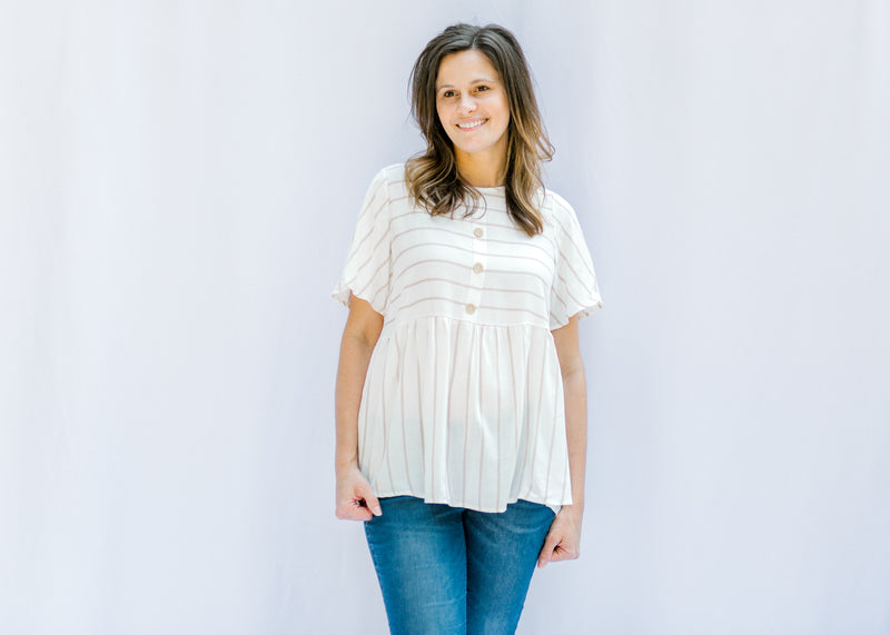 cream and taupe top with buttons - epiphany boutiques