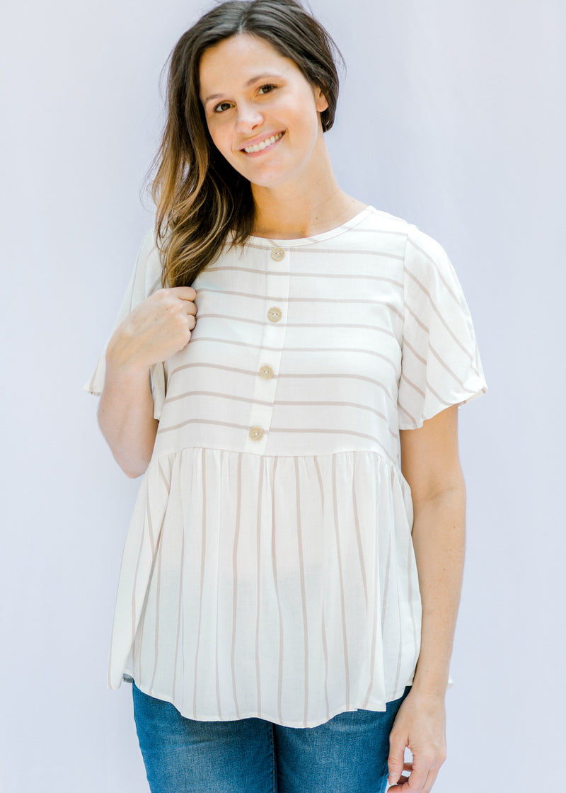 taupe stripe top - epiphany boutiques