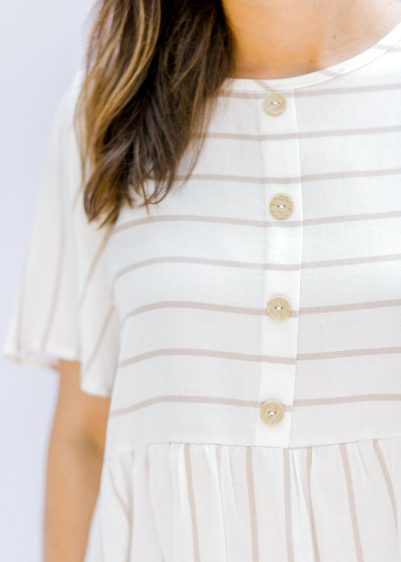 taupe and cream top with buttons - epiphany boutiques