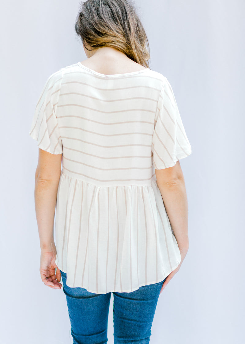 taupe and cream striped top back view - epiphany boutiques