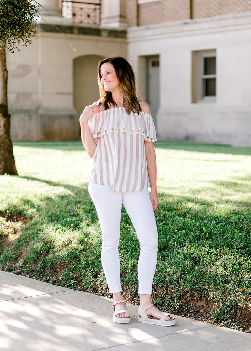 taupe striped top - epiphany boutiques