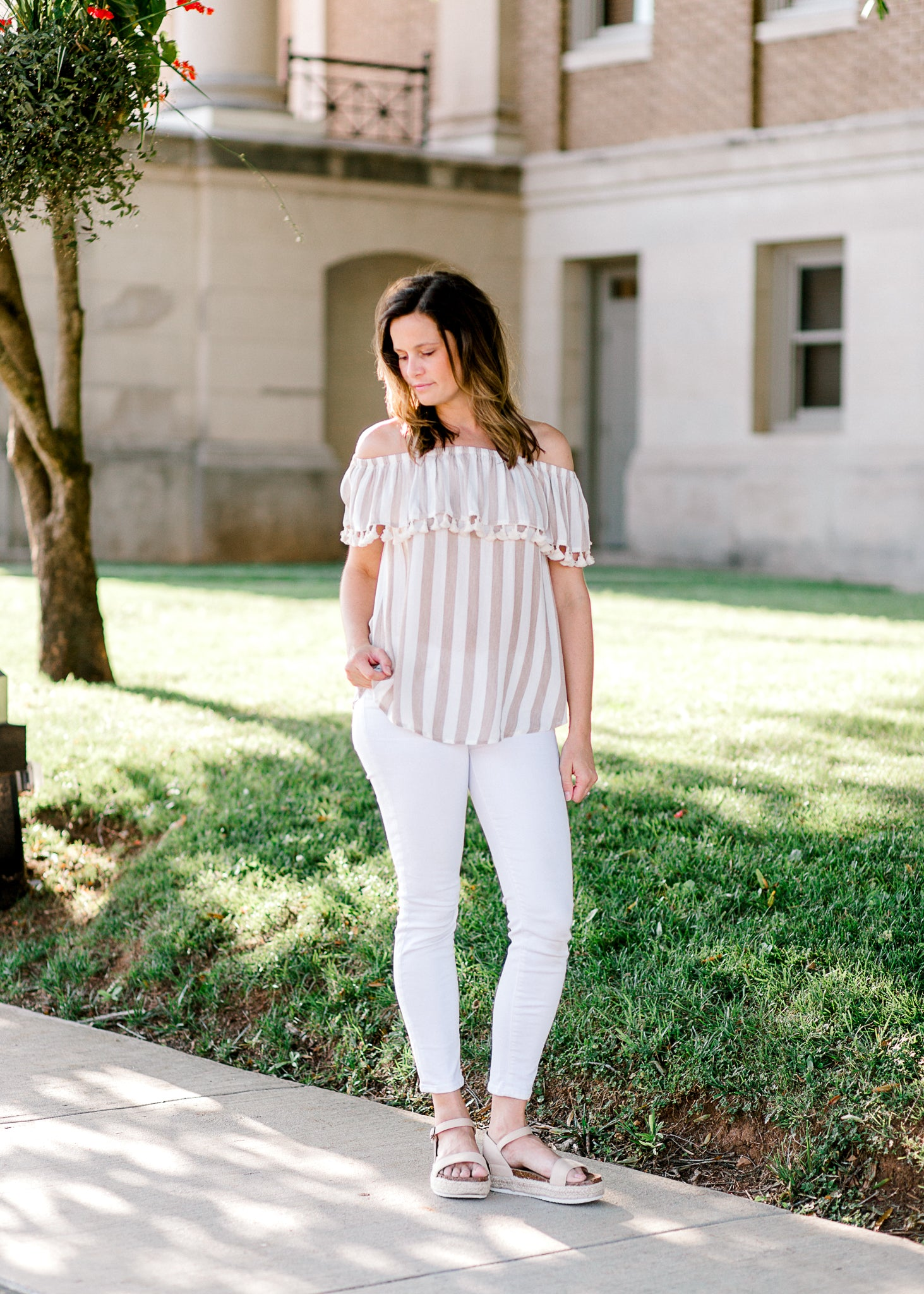taupe striped top with tassels - epiphany boutiques