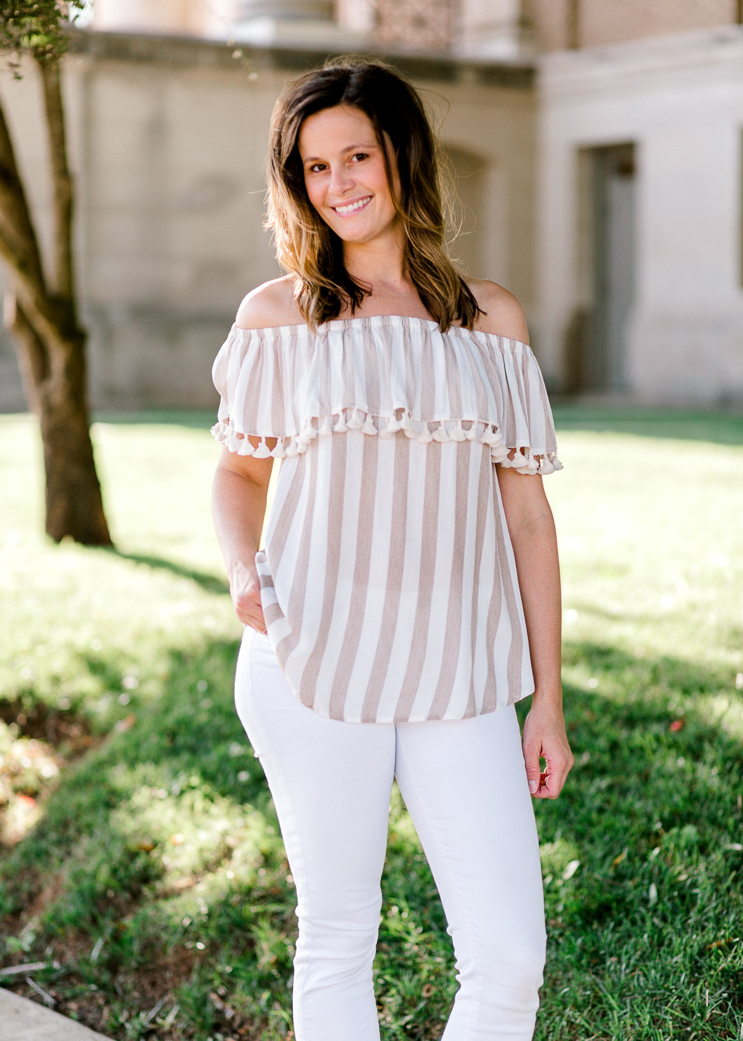 tassel top with stripes - epiphany boutiques