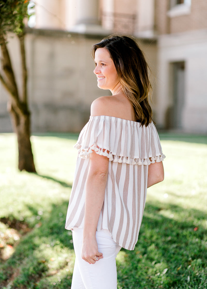 taupe and white striped top - epiphany boutiques