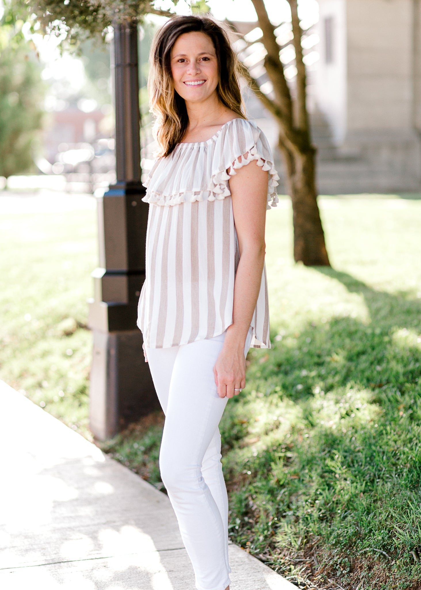 taupe and white striped top with tassels - epiphany boutiques