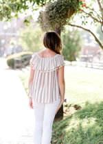 tassel taupe top back view - epiphany boutiques