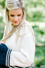 cream and navy sweater - epiphany boutiques