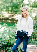 chenille cream and navy sweater - epiphany boutiques