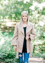 camel coat with snap buttons - epiphany boutiques