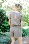 charcoal romper with key hole closer - epiphany boutiques