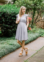 lavender grey dress - epiphany boutiques