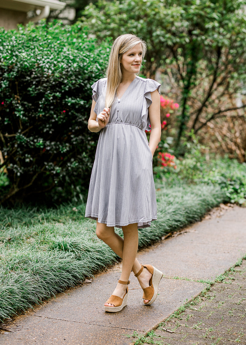 gray v neck dress - epiphany boutiques