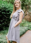 lavender gray dress with pockets - epiphany boutiques