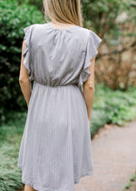lavender gray dress with ruffles - epiphany boutiques