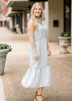 gingham midi dress with tiers - epiphany boutiques