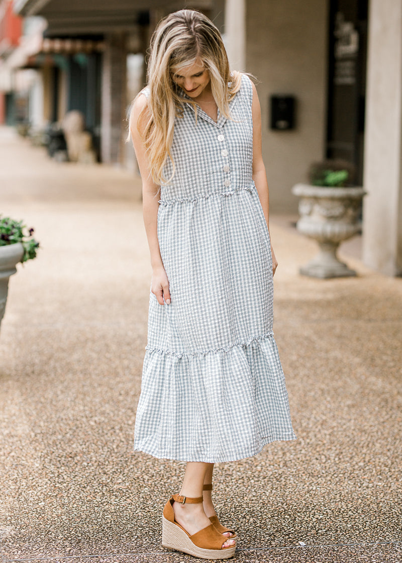 gingham dress with buttons - epiphany boutiques