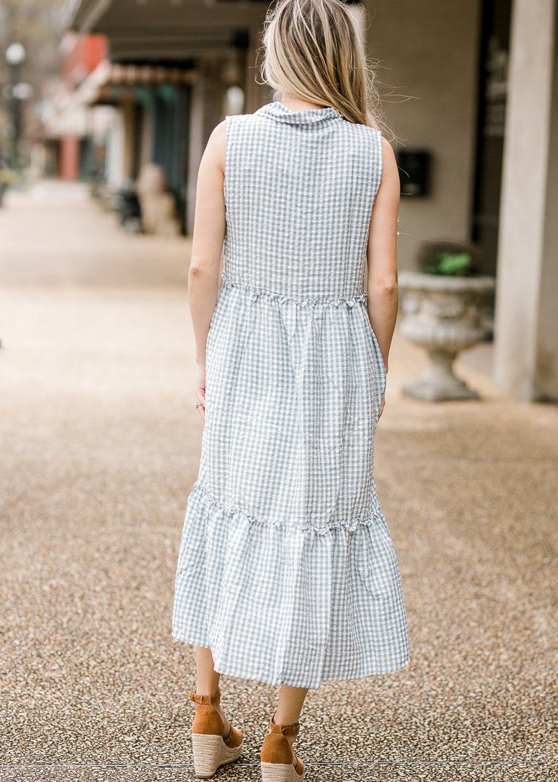 tiered gingham midi dress - epiphany boutiques