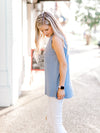 The Dusty Blue Pocket Sleeveless Top