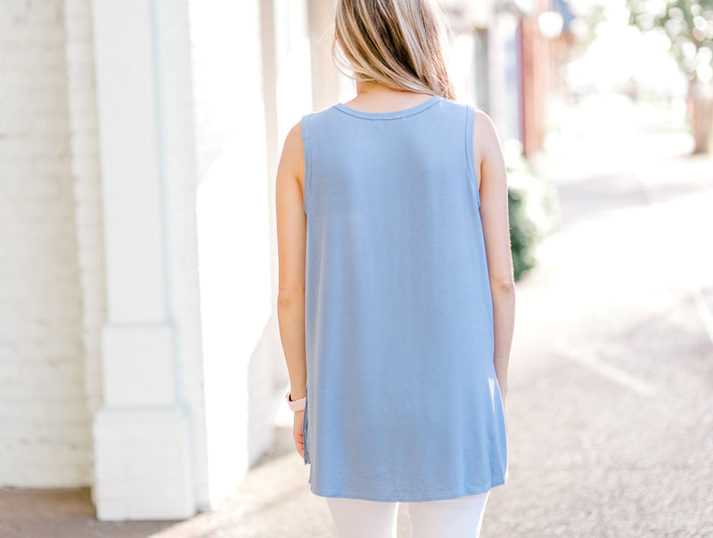 The Dusty Blue Pocket Sleeveless Top for the Bump