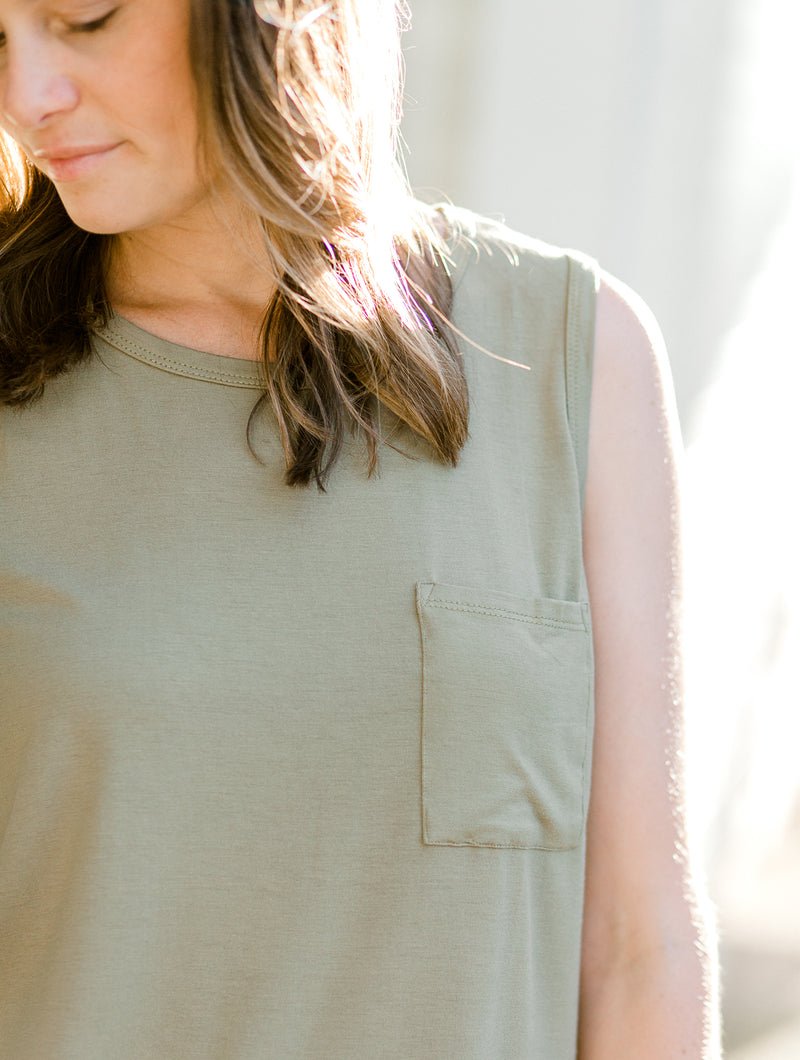 The Moss Pocket Sleeveless Top for the Bump