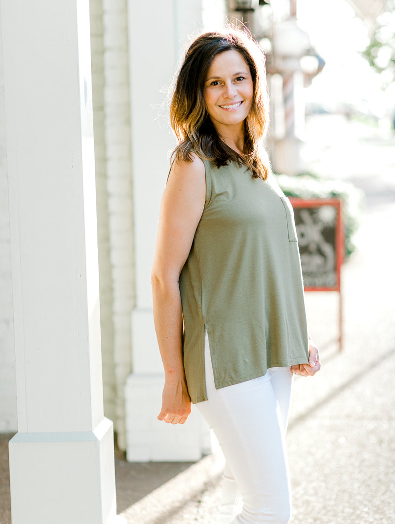 The Moss Pocket Sleeveless Top