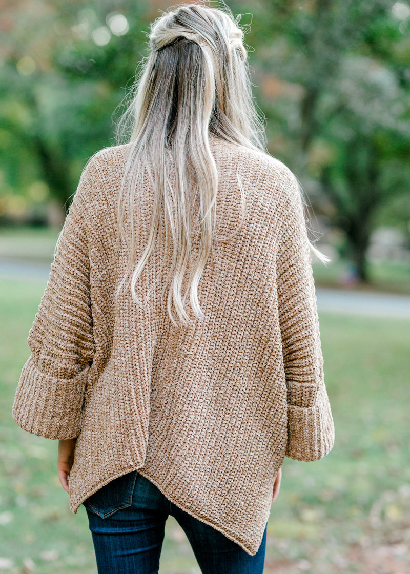 camel cardigan back view - epiphany boutiques