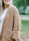 camel cardigan with pockets - epiphany boutiques