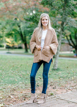 chenille cardigan in camel - epiphany boutiques