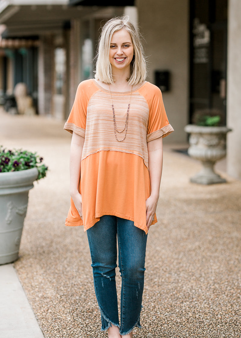 warm peach top - epiphany boutiques