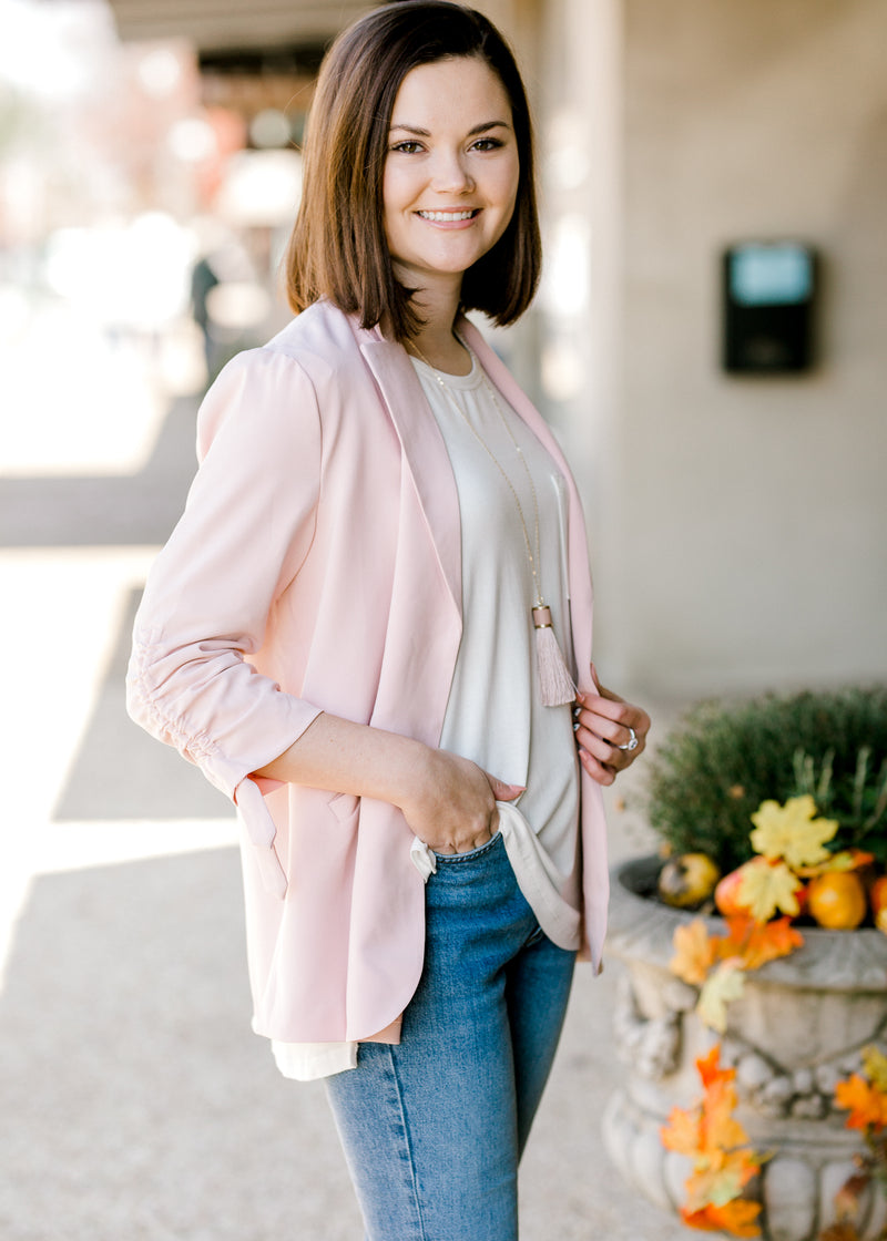 blush blazer with tie knot - epiphany boutiques