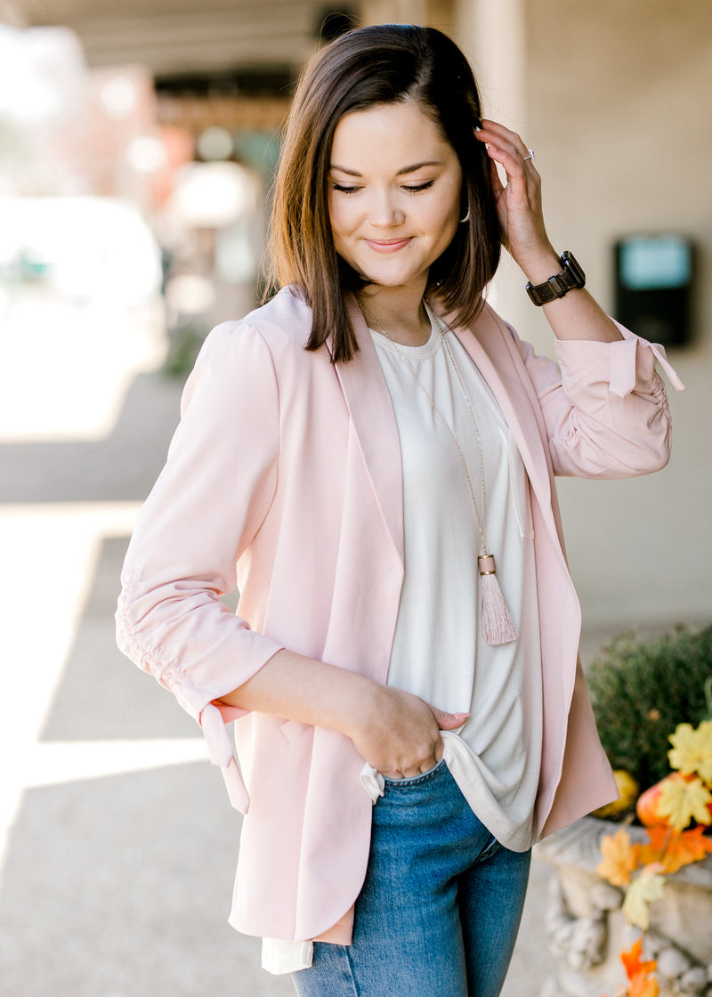 pink blazer with collar - epiphany boutiques