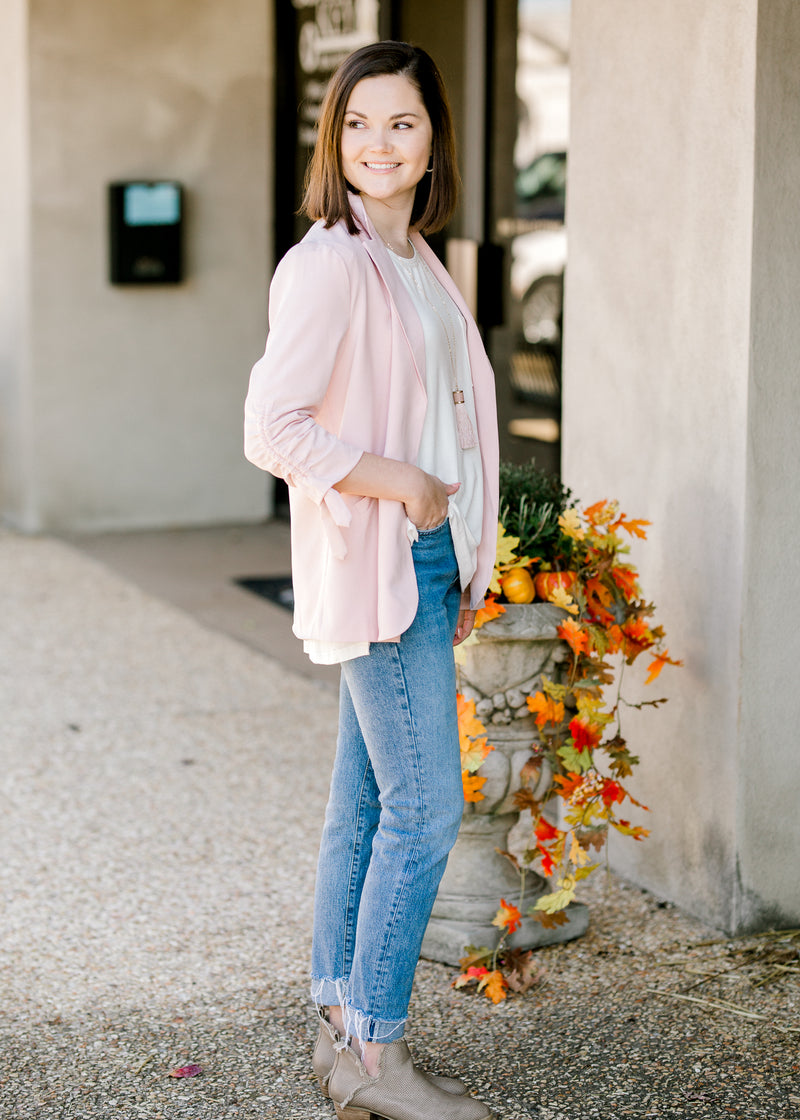 model in blush pink blazer - epiphany boutiques