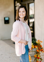 model wearing a pink blazer with collar - epiphany boutiques