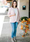 blush blazer with collar detail - epiphany boutiques