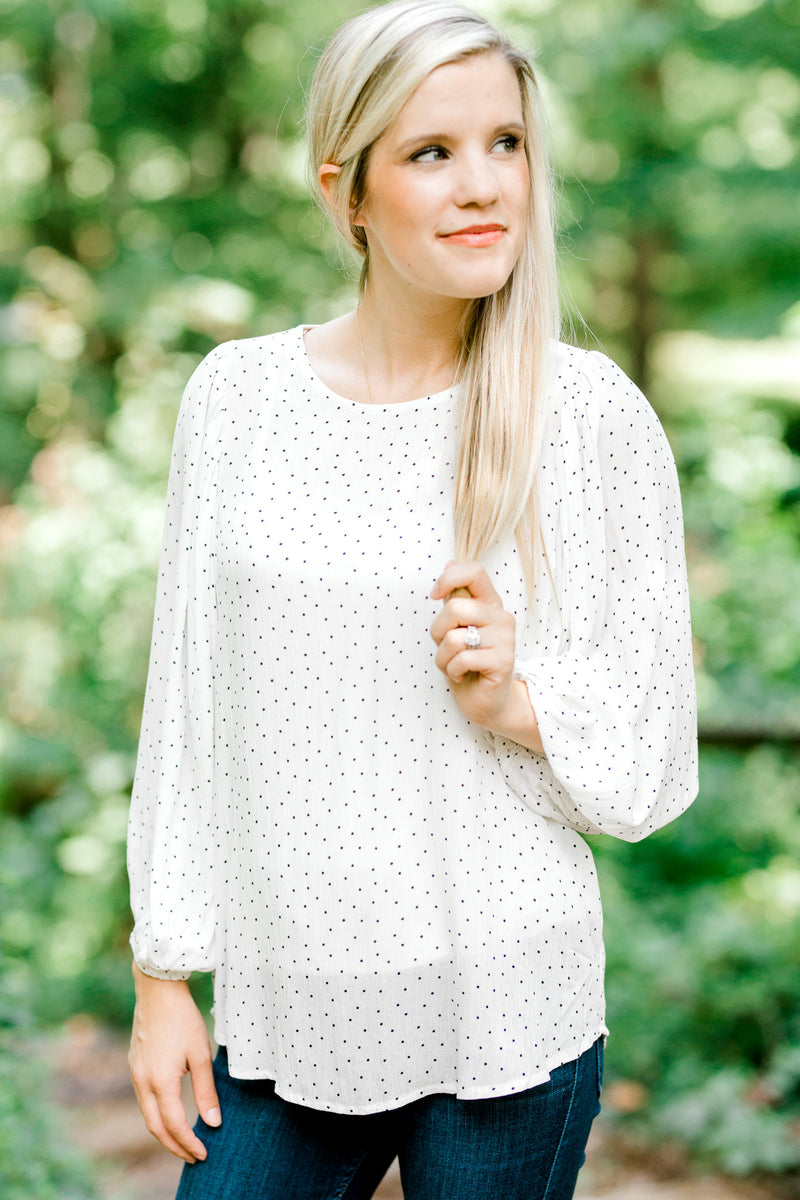 black and white dotted top - epiphany boutiques