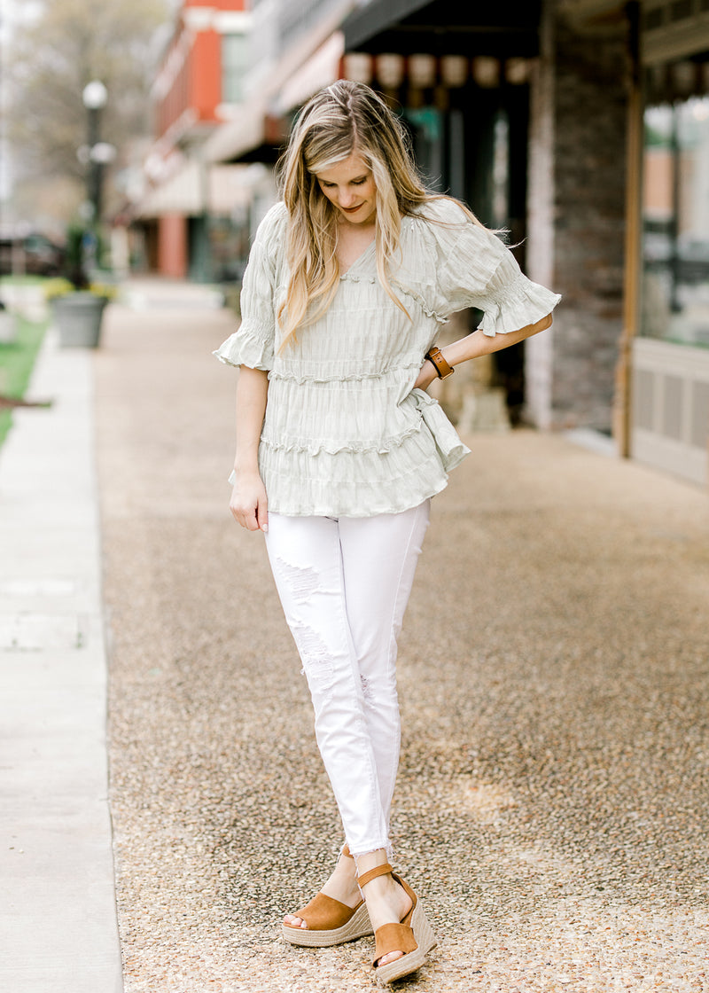 smocked ruffled top - epiphany boutiques