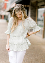 v neck smocked top - epiphany boutiques