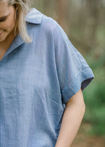 detail view of blue lightweight top - epiphany boutiques