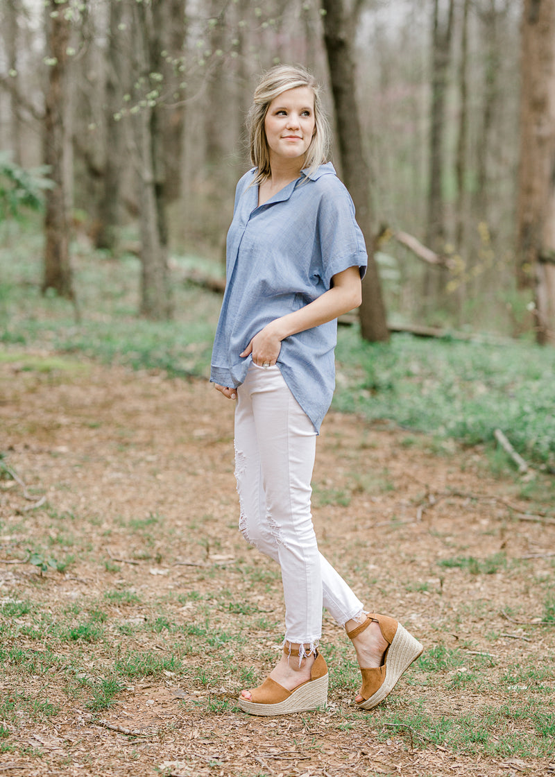 woven blue top - epiphany boutiques