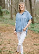 blue top with collar - epiphany boutiques