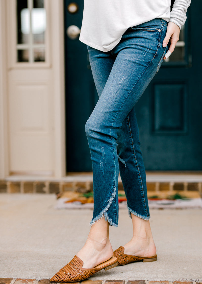 distressed tulip cut jeans - epiphany boutiques
