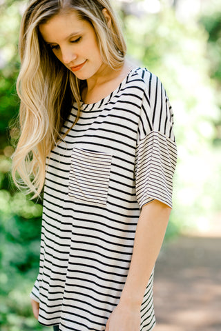black and white striped top - epiphany boutiques