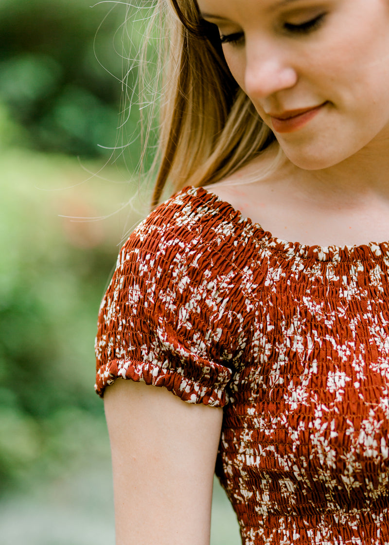 smocked short sleeve top - epiphany boutiques