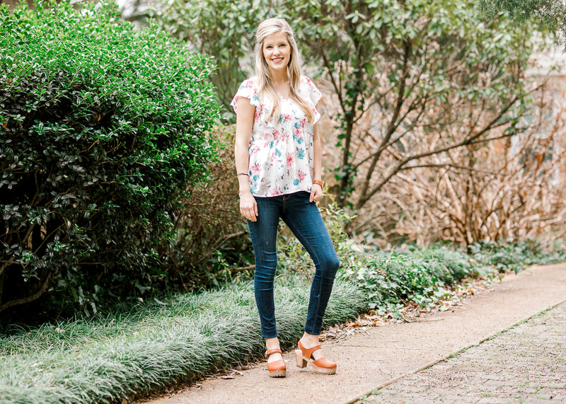 peplum watercolor floral top - epiphany boutiques